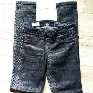 Faux leather animal print pants